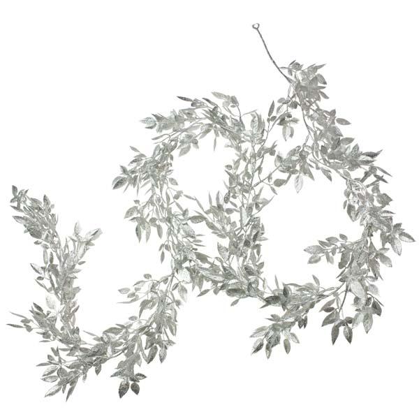 Mini Silver Glittered Rose Leaf Garland - 1.9m
