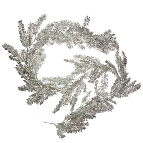 Glittered Silver Fir Pine Garland - 1.9m