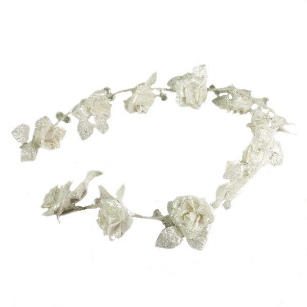 Cream Glittering Diamante Rose Garland - 120cm