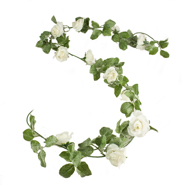 Snow Finish White Silk Rose Garland - 170cm
