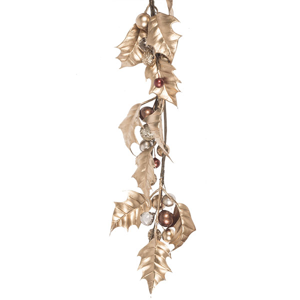 Gold Holly Leaf Garland With Glitter & Pearlised Berries - 110cm