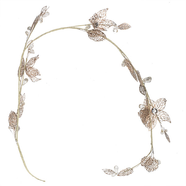 Decorative Garland With Fretwork Metal Leaves & Flowers - 120cm
