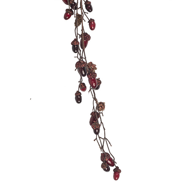Red Acorn & Natural Pinecone Garland - 110cm
