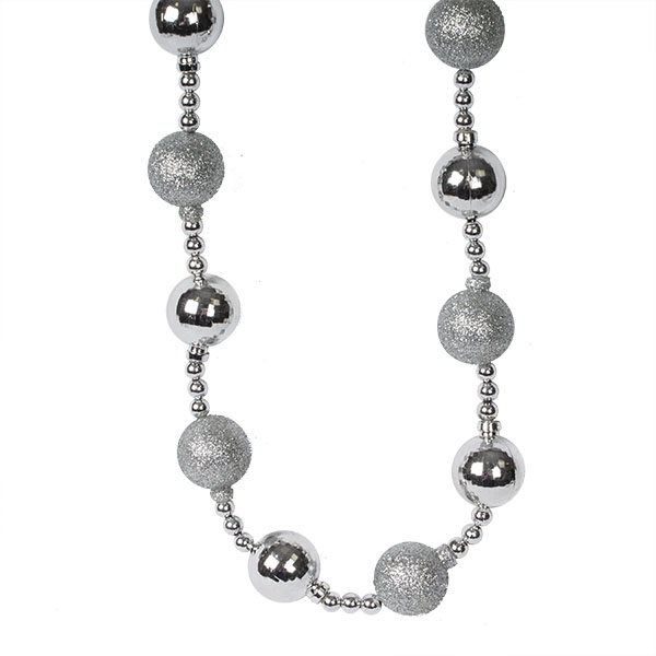 Silver Bauble And Bead Christmas Garland - 2.7m