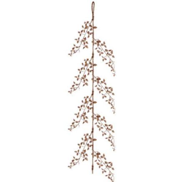 Delicate Rose Gold Glitter Leaf Garland - 150cm