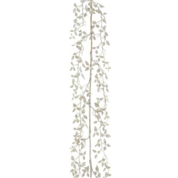 Delicate Silver Glitter Leaf Garland - 150cm