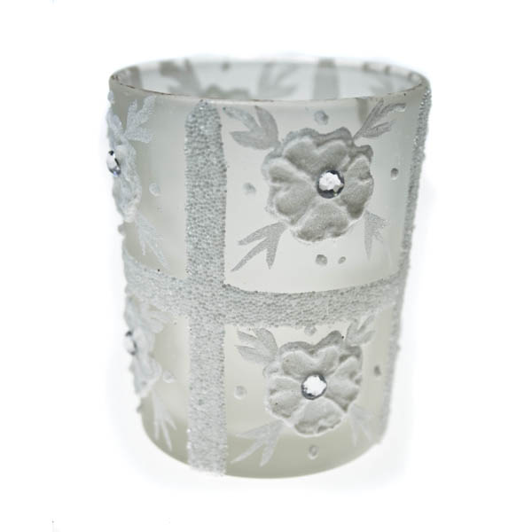 Frosted Tealight Candle Holder With Flower & Sequin Detailing