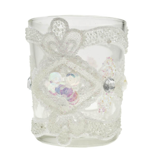 Tealight Sequined Candle Holder - 6.5cm X 5.5cm