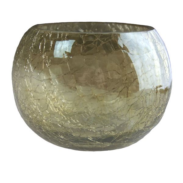 Gold Crackle Glass Round Tealight Holder - 8cm X 6cm