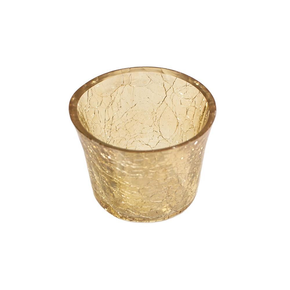 Gold Crackle Glass Votive Tealight Holder - 6cm X 5cm