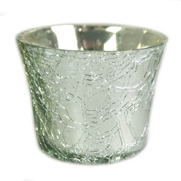 Silver Crackle Glass Votive Tealight Holder - 6cm X 5cm