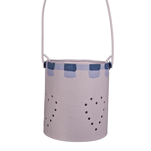 Gisela Graham Cream Mini Tin Tealight Holder With Blue Decoration - 15cm