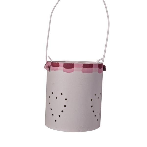 Gisela Graham Cream Mini Tin Tealight Holder With Red Decoration - 15cm
