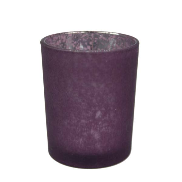Burgundy Frosted Flecked Glass Candle Holder - 65mm