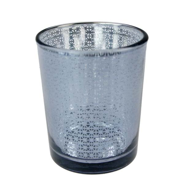 Grey Snowflake Glass Tealight Candle Holder - 65mm