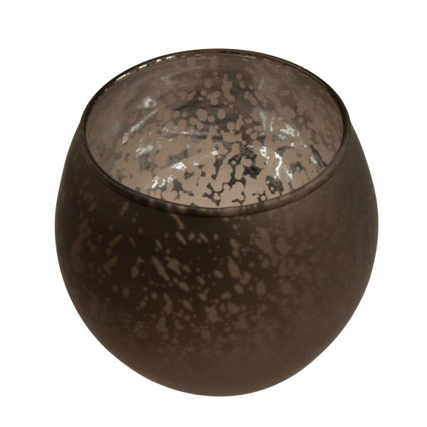 Rounded Brown Frosted Flecked Glass Tealight Candle Holder - 7cm