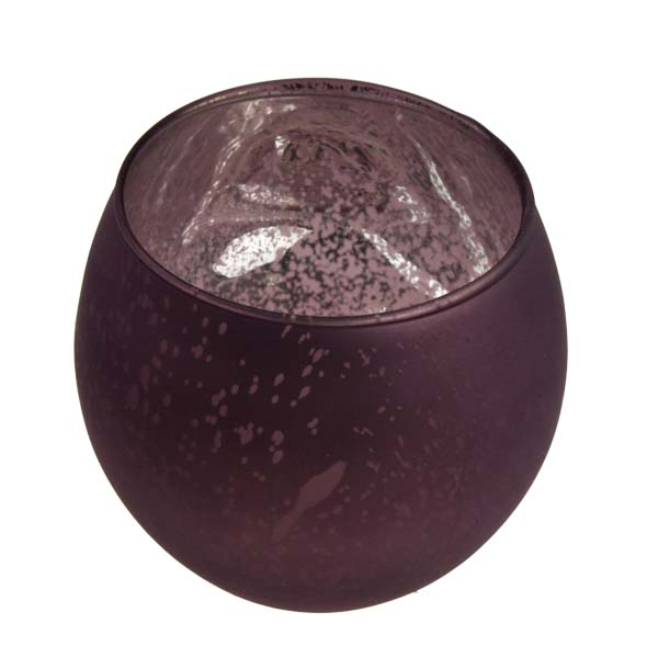 Rounded Burgundy Frosted Flecked Glass Tealight Candle Holder - 7cm