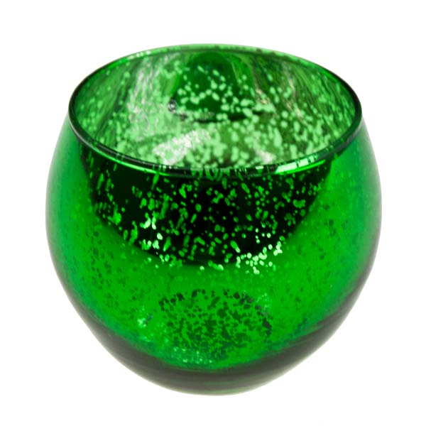 Green Rounded Flecked Glass Tealight Candle Holder
