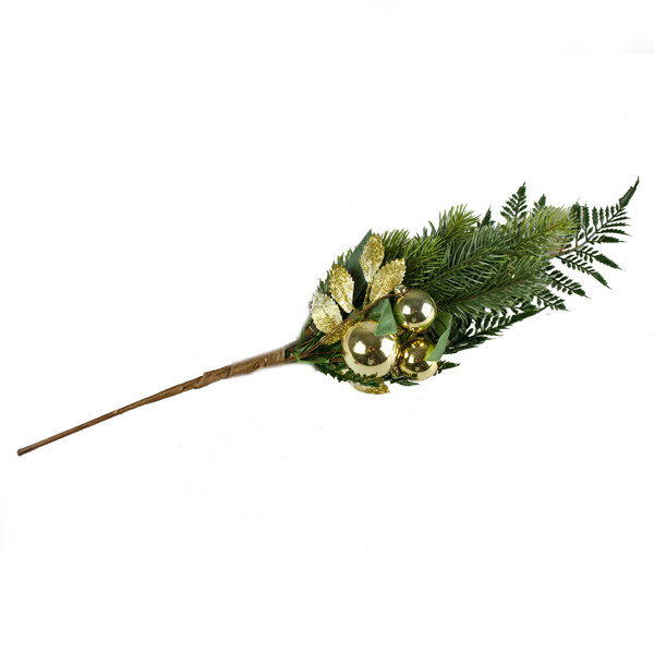 Gold Bauble And Foliage Decorative Range - Spray