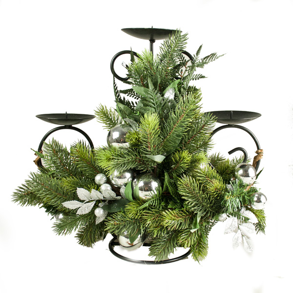 Silver Bauble And Foliage Decorative Range - Candle Holder