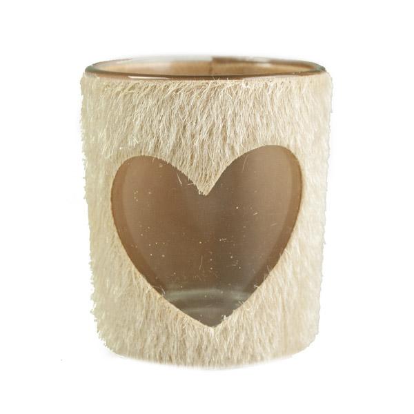 Faux Fur Glass Tealight Holder - Heart Design