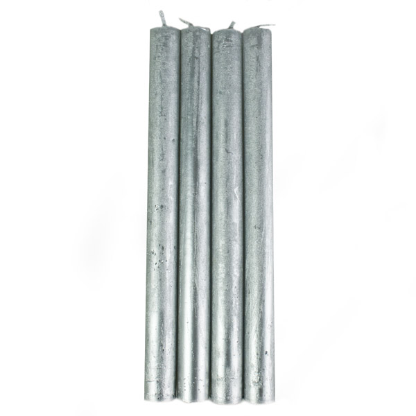 Silver Metallic Dining Candles - 4 Pack