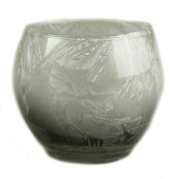 Silver Grey Frosted Glass Tealight Candle Holder - 7cm