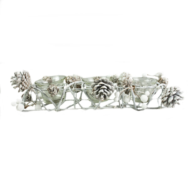Gisela Graham Frosted Natural Twig & White Berry Triple Candle Holder