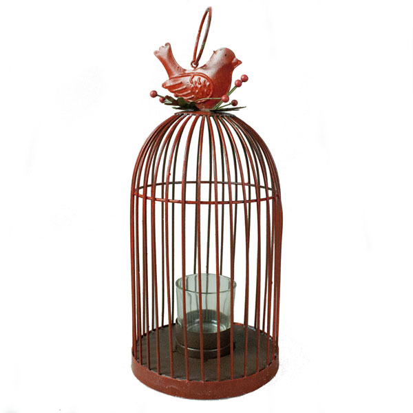 Rustic Red Metal Bird Cage Tealight Candle Holder With Holly & Berries