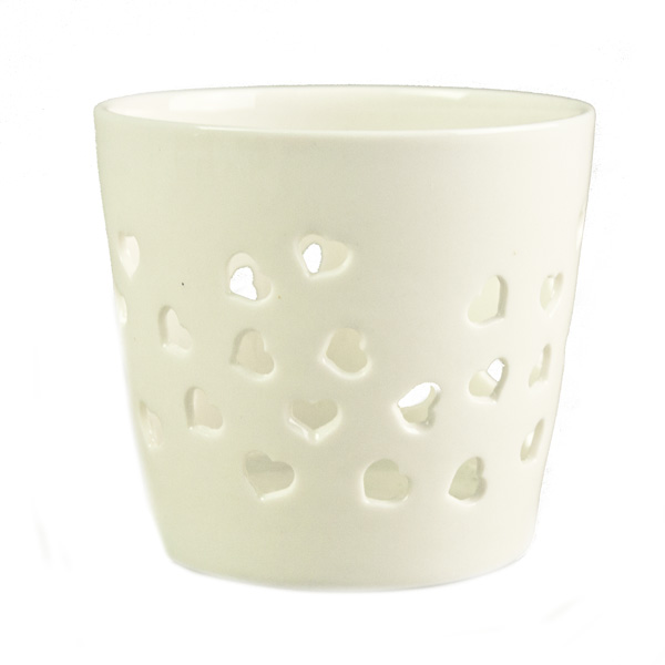 Gisela Graham Cream Porcelain Heart Design Fretwork Nitelite