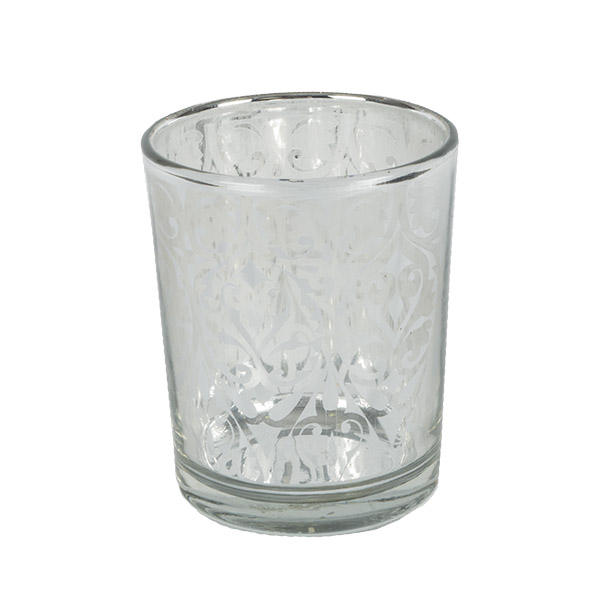 Silver Glass Tealight Holder - 70mm