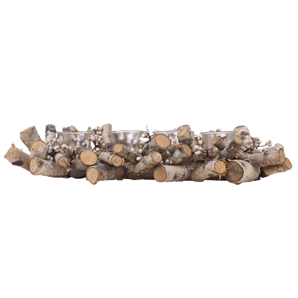 Natural Twig & White Berry Candle Holder - 48cm