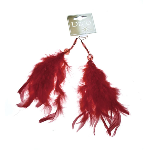 Dark Red Feather & Bead Hanging Decoration - 2 x 25cm