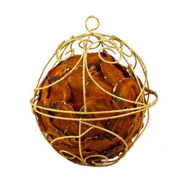 Brown And Gold Petal Ball - 25cm