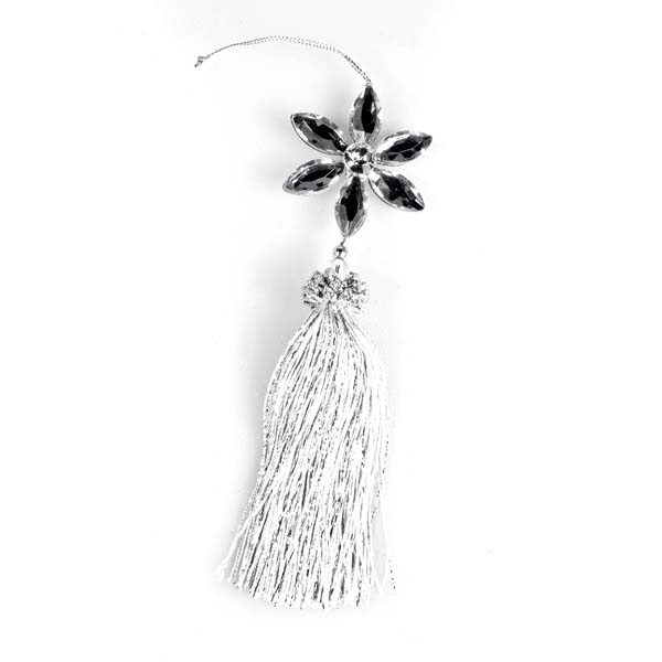 Silver Hanging Flower With Tassel