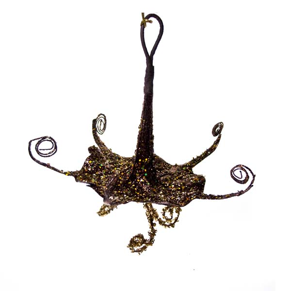 Brown And Gold Hanging Trumpet Flower Decoration - 15cm