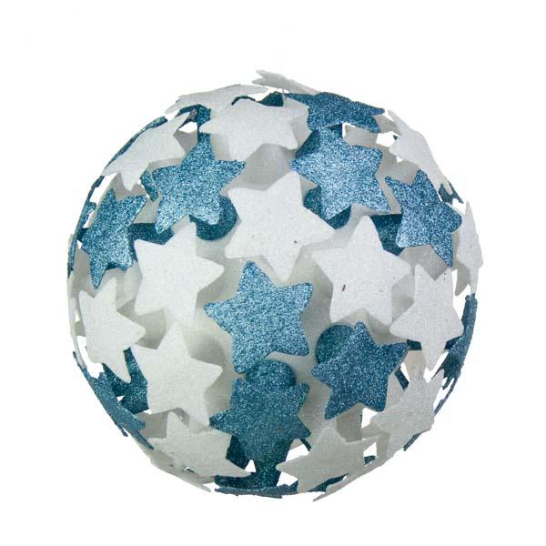 White/Light Blue 3D Star Bauble - 250mm