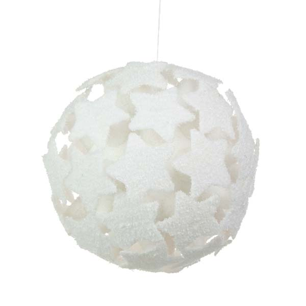 White 3D Star Bauble - 200mm