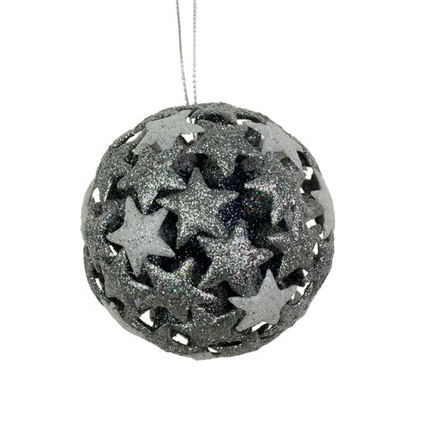 White/Silver/Silver Laser 3D Star Bauble - 80mm