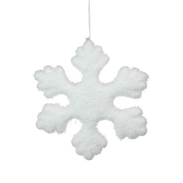 White Flocked Snowflake Hanging Decoration - 14cm