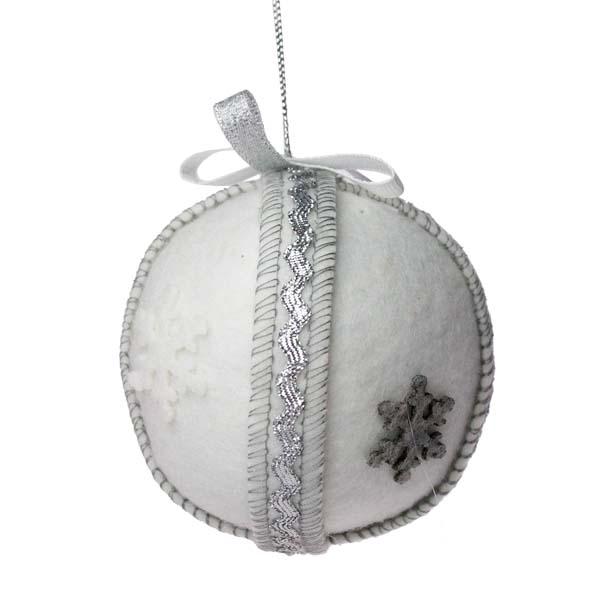 Snowflake Design Textile Hanging Ball with Ribbon