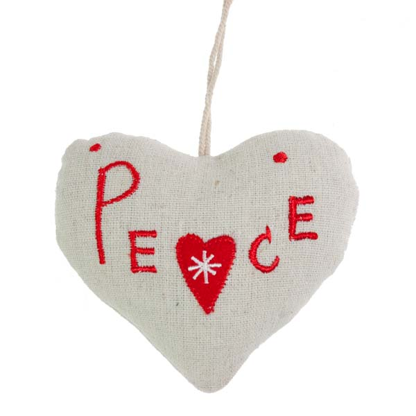 Fabric Hanging Peace Heart Decoration - 10cm