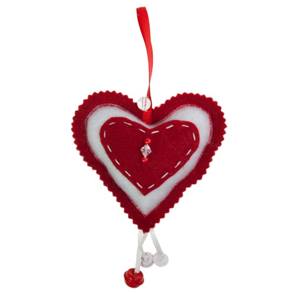 Red Scalloped Edged Felt Heart Hanging Decoration - 10cm