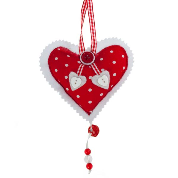 White Spotted Hanging Heart Decoration -11cm