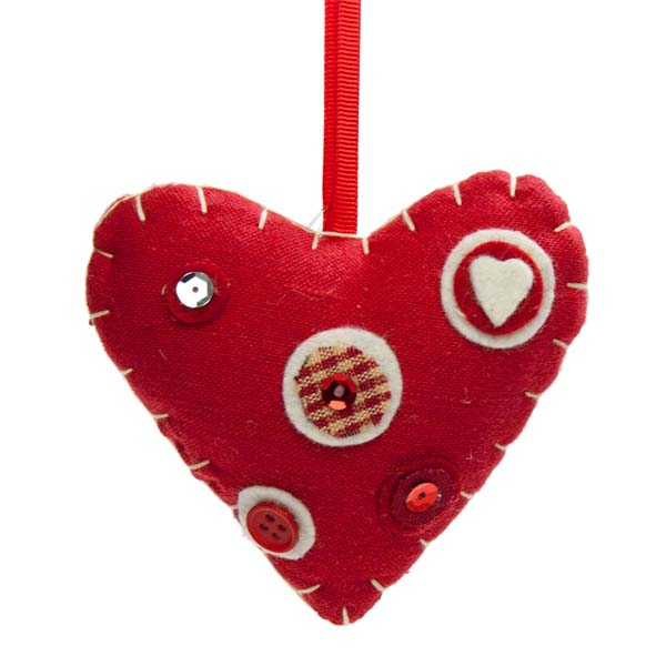 Red Fabric Hanging Heart with Button Detail - 10cm