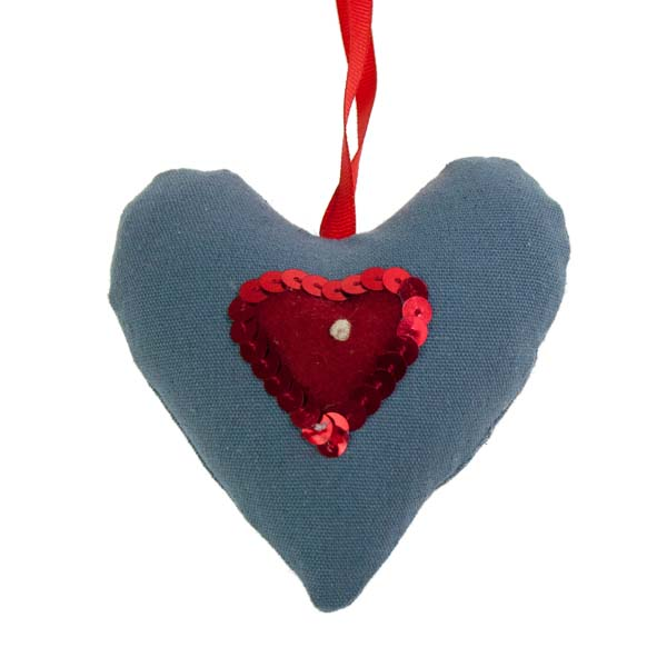 Blue Padded Hanging Heart Decoration - 10cm