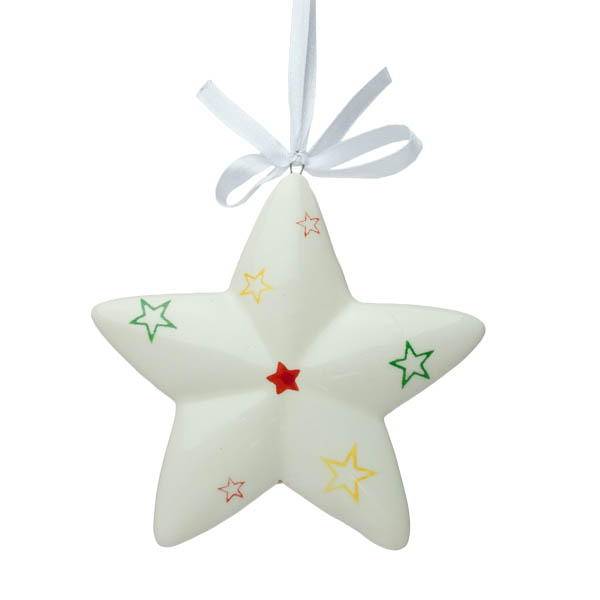 Ceramic Star Hanging Decoration With Painted Detail - 10.5cm