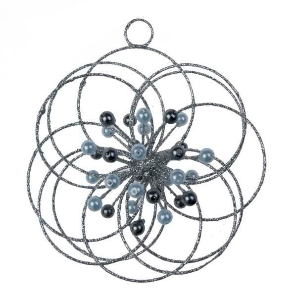 Silver 3D Glitter & Bead Circles Flower Hanger - 100mm