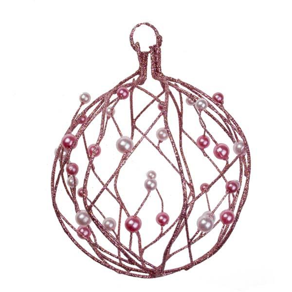 Pink Glitter & Bead Wire Ball - 100mm