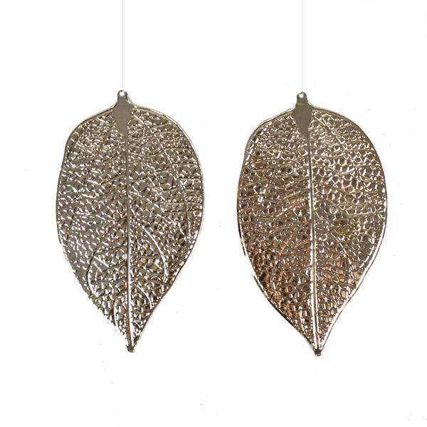 Gold Metal Leaf Hangers - 2 x 14cm
